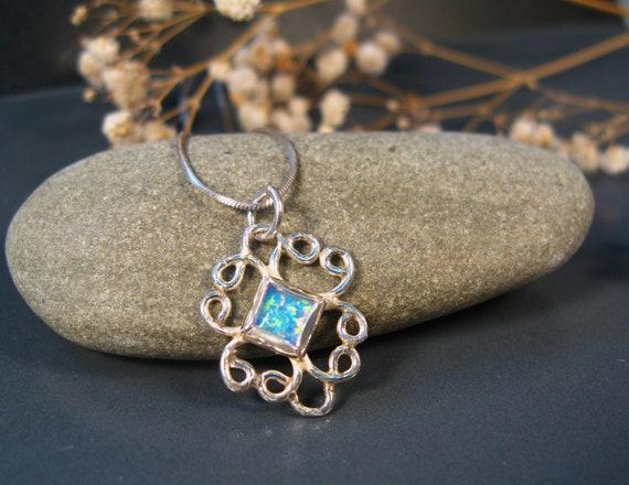 Blue Opal necklace, Opal pendant, sterling silver filigree necklace, Opal jewelry