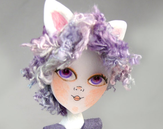 Lavender Cat Doll One of a Kind Clothes Pin Art Doll by Doll Project Purple Blue Kitty Cats