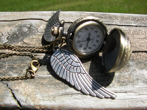 New Harry Potter Silver Wings Brass Filigree Working Watch Necklace