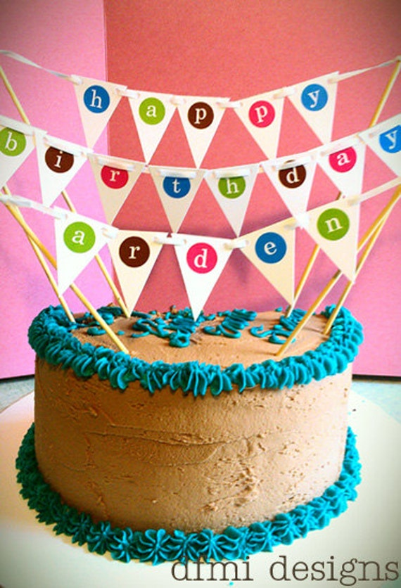 items similar to fun happy birthday mini banner cake topper on etsy on cake happy birthday banner