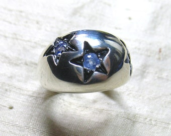 Tanzanite and Sterling Star Ring