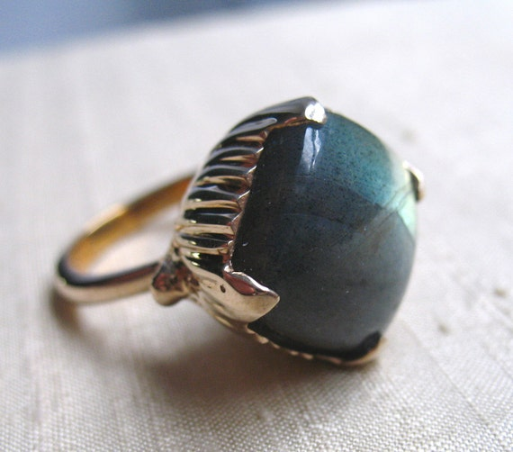 The Amphora Ring- Labradorite and Bronze