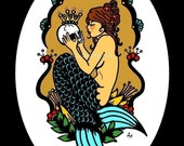 Victorian MERMAID Art Old School Tattoo Print  5 x 7, 8 x 10 or 11 x 14