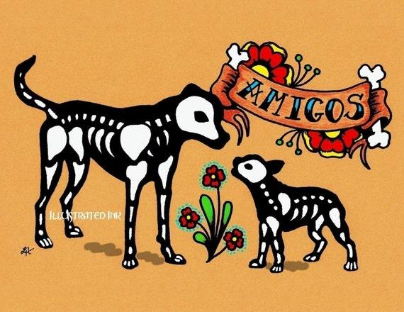 Dia de los Muertos Dogs AMIGOS Day of the Dead Art Print 5 x 7 - Donation to Austin Pets Alive