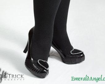 Velvet & Rhinestone Heart Shoe Clips, many colors