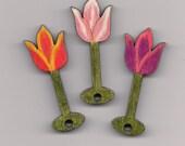 Tulip Bouquet Intarsia Bamboo Yarn Bobbins