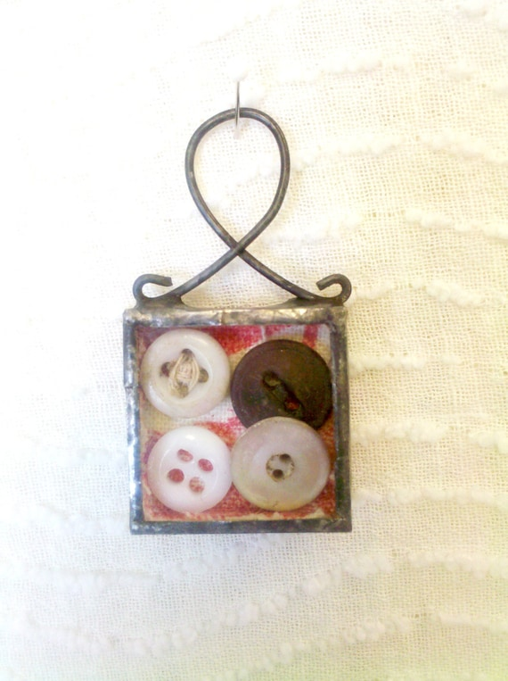 Stained Glass Antique Button Soldered Shadowbox Pendant