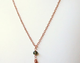 "bright red ruby and 14kt rose gold filled 18"" necklace - July birthstone"