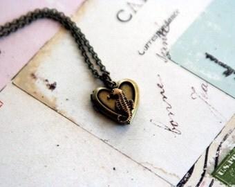 seahorse. locket necklace. brass ox