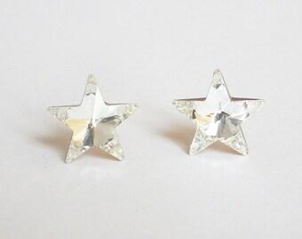 Lady Earrings, Shiny Star Crystal Rhinestone, 925 Sterling Silver Stud Earrings, Dassling Bridesmaid Wedding Gift Mother Gift