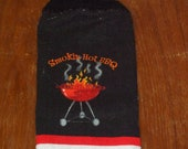 Smokin Hot BBQ Hand Towel With Black Crocheted Top