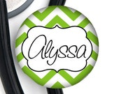 Stethoscope ID Tag - Custom Name - Chevron - Choice of Colors