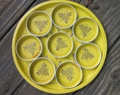 Vintage Tin Tray and Coasters - Bright Yellow - CLEARANCE