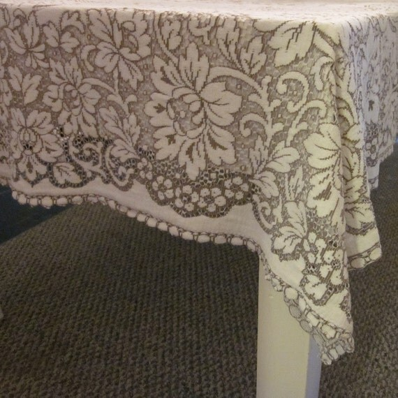 Vintage Wedding Tablecloth - Creamy White and Taupe