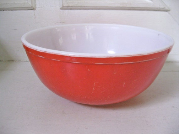 Vintage Pyrex Mixing Bowl - Large Red Bowl