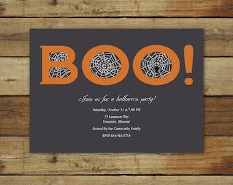 BOO Halloween Party invitation, spider web, printable Halloween party invitation, trick or treat invitation