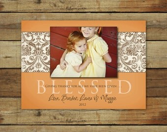 Blessed Thanksgiving photo card, vintage damask Thanksgiving card, blessed photo card