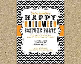 Subway poster Halloween Costume Party invitation, modern, printable