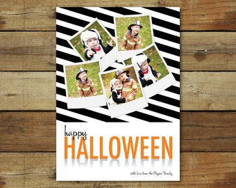 Classic Halloween costume photo card, stripes, picture collage