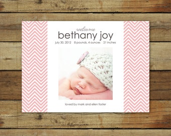 Pink and gray baby announcement, chevron birth announcement in pink, chevron photo card