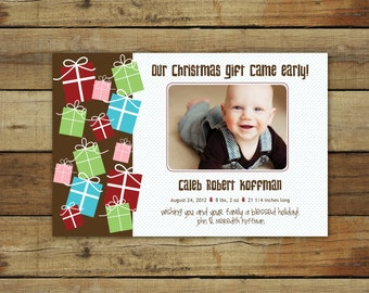 Christmas card, photo birth announcement, funky Christmas presents