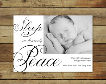 Silent Night Christmas card or birth announcement, sleep in heavenly peace, Christmas carol card