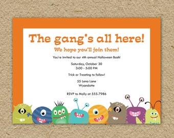 Monster Halloween Party invitation, The Gang's All here