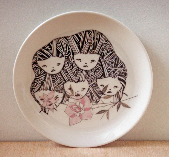 hand painted plate- original drawing illustration