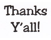 """Jam'n """"Thanks Y'all"""" cling mounted rubber stamp"""