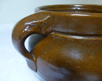 Old Pottery Beanpot Great Orange Brown Color