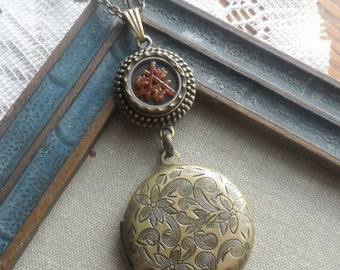 The Three Sisters, Antique Button with Ornate Locket Necklace