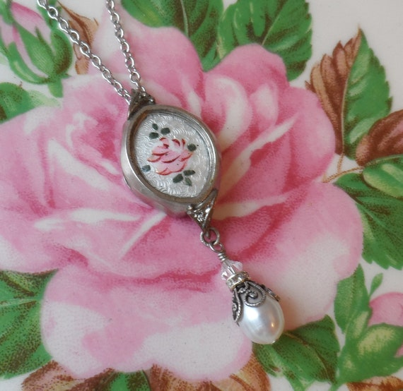Reserved-Vintage Watch Case Necklace with Vintage Guilloche Enamel Rose Cameo and Freshwater Pearl