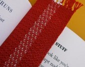 Red and White Bookmark - Hand Woven
