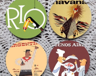 Blame it on Rio -- Vintage South America Travel Posters Mousepad Coaster Set