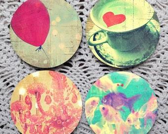 Bursts of Whimsy -- Vintage Inspired Image Mousepad Coaster Set