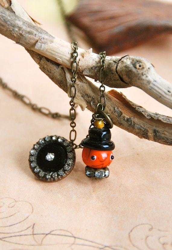 Pumpkin man.vintage rhinestone button pumpkin charm necklace. Tiedupmemories