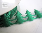 Christmas Tree Ribbon - 2.5 yards of Trim - Garland Scrapbooking Gift Wrapping Green