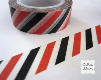 Washi Tape Halloween Stripe - Black Orange White - 10.5 yard roll Japanese Deco Tape
