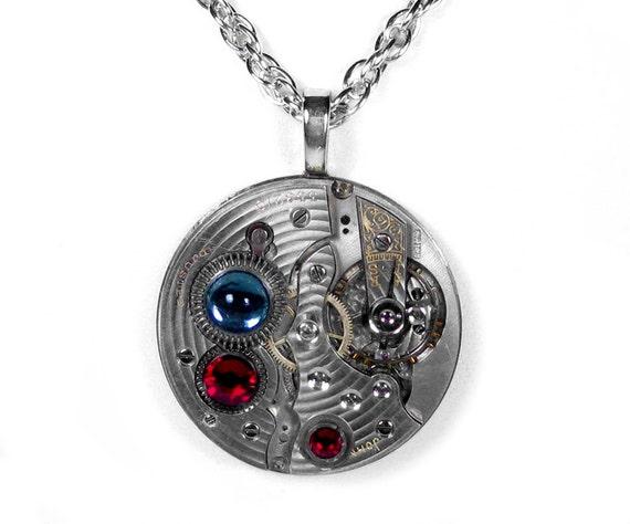 Steampunk Jewelry Necklace Vintage Pocket Watch Red Swarovski Blue Cabochon Wedding Steam Punk STUNNING - Steampunk Jewelry by edmdesigns