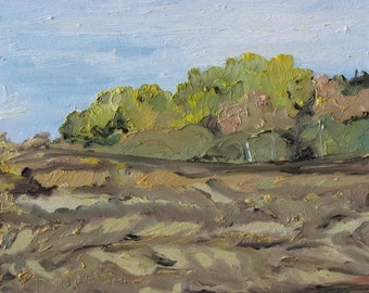 """Art Original Small Oil Painting Plein Air Country Landscape Appalachian Quebec Canada By Fournier """"The Forest Over The Brown Field"""" 10 x 12"""