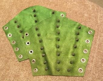 Metallic Green Spiked Bracers - Large Pair