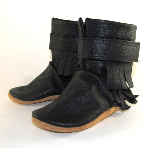 Soft Black Leather Fringe Baby Boots Shoes 6 to 12 Month