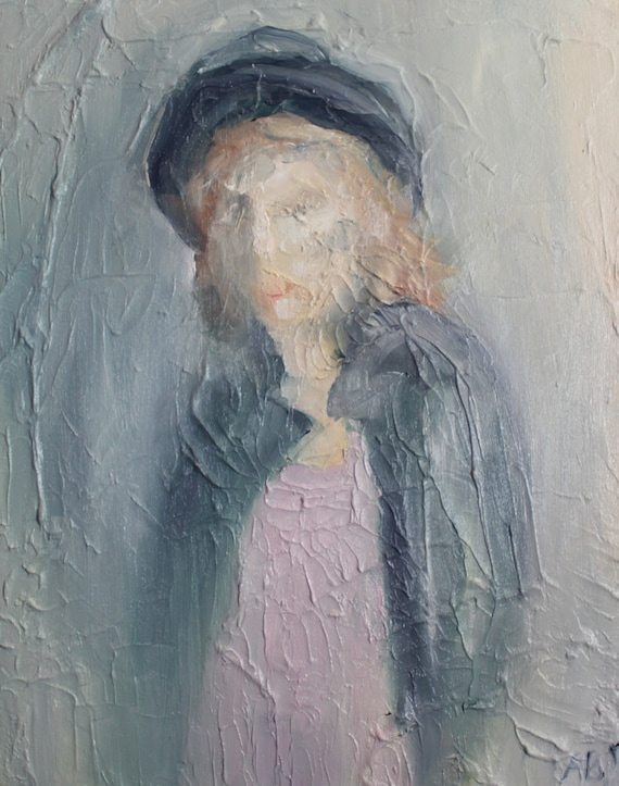 Girl with a Hat: Oil Portrait on Canvas