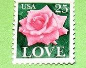 LOVE Stamp Set of 50 .. Unused Vintage Postage Stamps .. 25 cent PINK ROSE. Floral Love stamp for mailings and wedding invitations. Brides