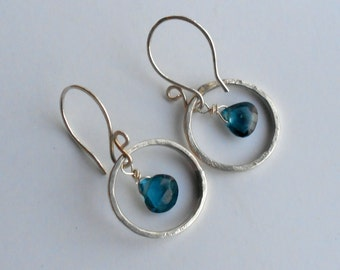 London Blue Topaz  and Sterling Silver Chandelier Earrings