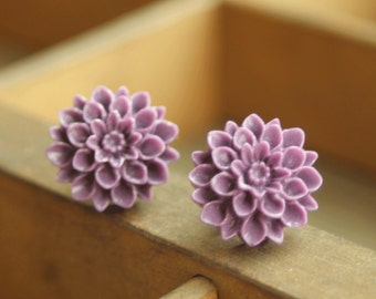Purple Dahlia Stud Earrings, Studs Flower Post Earrings, Weddings, Mum Flower Earrings,  Plum, Purple Grape Flower