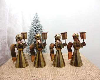 Vintage Mexican brass angel candleholders, Set of 4