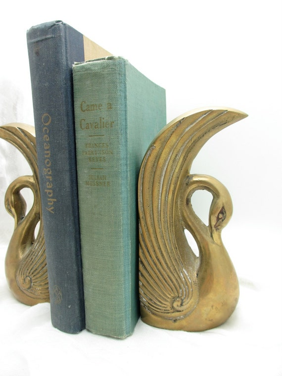 gorgeous vintage brass swan bookends