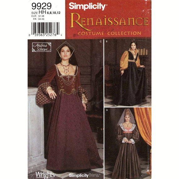 Renaissance Bridal Gown Sewing Pattern Princess Dress: Renaissance Wedding Dress Gown Costume Simplicity 9929 Sewing