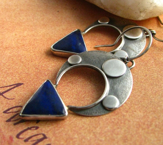 Lapis Lazuli Earrings -  Blue Gemstone Ethnic Sterling Silver Earrings - Tuareg Tribal Inspired Silversmith Jewelry
